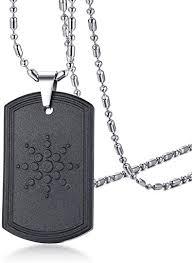hematite stone dog tag pendant necklace