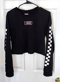 Vans Black Checkered Long Sleeve T Shirt With Decal On Back And Sleeves Curtsy