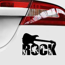 Rock Guitar Waterproof Sticker For Cars 3d Vinyl Style Car Decal Ass Car Sticker Car Decoration In Black Or Silver Jdm Sticker Car Stickers Aliexpress