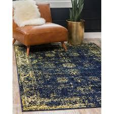 navy blue yellow area rug