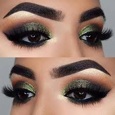 makeup green glittery eye makeup look