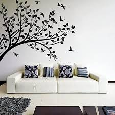 Amazon Com Slaf Ltd 63 X 48 Wall Decal Tree Silhouette Branch With Leafs Birds Nature Art Decor Sticker Forest Diy Mural Free Random Decal Gift Home Kitchen