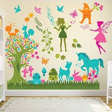 Fairytale Forest Wall Sticker Scene Fairy Wall Decal Girls Room Nursery Decor Available In 8 Sizes Xx Large Digital Baby B01n37csq1