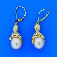 denny wong octopus pearl earrings 14k