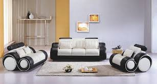 two tone leather 3pc modern living room set