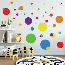 Polka Dots Blue Red Yellow Green Wall Decals 31 New Kids Bedroom Stickers Decor Walmart Com Walmart Com