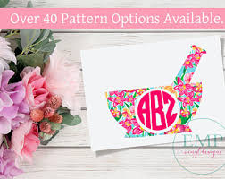 Elephant Lilly Pulitzer Decal Lilly Inspired Decal Monogram Etsy