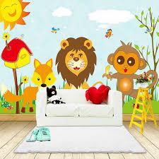Custom 3d Photo Wallpaper For Kids Room Bedroom Cartoon Animal Lion Monkey Bird Children Room Wall Decor Canvas Painting Mural Wallpapers Aliexpress