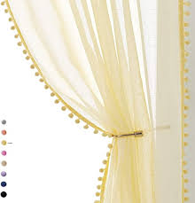 Amazon Com Pom Pom Sheer Curtains For Living Room 84 Inch Long Yellow Curtain Drapes For Kids Room 2 Panels Rod Pocket Kitchen Dining