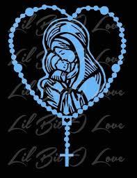 Rosary Vinyl Decal Mary And Baby Jesus Sticker Car Catholic Silhouette Stencil Catholic Christmas Art