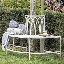 outdoor white metal tree seat