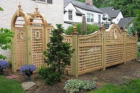 Custom Good Neighbor Arched Scalloped Square Lattice Wood Fence With Portholes And Arbor By Elyria Fence Backyard Privacy Trellis Fence Fence Design