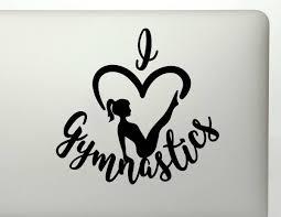I Heart Gymnastics Gymnast Silhouette Vinyl Decal Sticker
