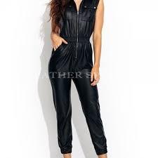 women spring premium leather jumpsuit