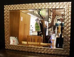 mosaic wood frame wall mirror