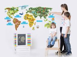 World Map Kids Wall Decal For Childrens Room Continents Etsy