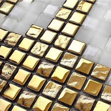 gold glass tile backsplash