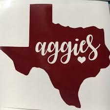 Texas A M Sticker Texas Aggies Vinyl Tamu Decal By Handcraftedtx Gig Em Aggies Texas Aggies Texas A M Shirts