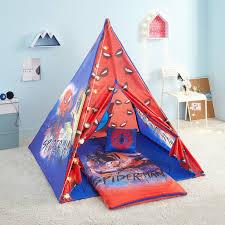 Marvel Spider Man 4 Piece Kids Slumber Teepee Tent Set Walmart Com Walmart Com