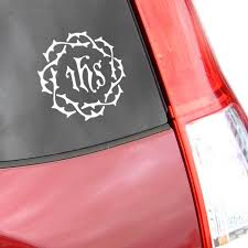 Car Decal Ihs Crown Of Thorns Branches Catholic Books Gifts