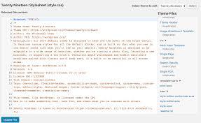 edit wordpress source code html css