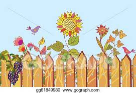 Drawing Fence And Flowers Cartoon Border In Summer With Bird Clipart Drawing Gg61849980 Gograph