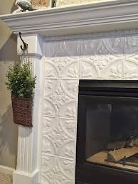 fireplace makeover with tin tile home