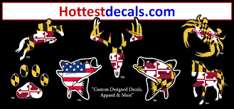 Maryland Crab Decal Sticker Hottestdecals Maryland Flag Crab Sticker Decal Magnet American Flag Virginia Delaware Ocean City Puppy Dog Rockfish Bass Trout Fish Anchor Turtle Horse Dog Cat Wine Glass State