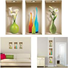 Amazon Com The Nisha 3 Pc Pack Art Magic Peel And Stick 3d Vinyl Removable Wall Sticker Decals Diy Sticky Backsplash Colored Vases 131 2 Home Kitchen