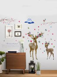 Deer Flower Wall Sticker Shein Usa