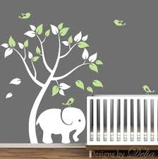 Boy Or Girl Room Vinyl Wall Decals With Tree Cute Elephant And Birds Decals By Delia