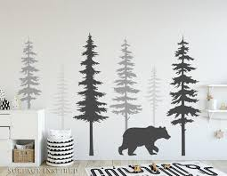 Wall Decals Large Tree Pine Wall Decal Wall Decals Bear Scandinavian Surface Inspired Home Decor Wall Decals Wall Art Wooden Letters