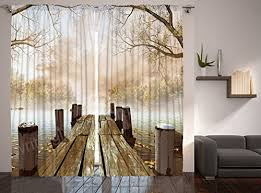 Curtains For Living Room By Ambesonne Fall Wooden Bridge Curtains Rustic Country Theme Home Decorations For Bedroom Kids Room Nature Picture Artwork 2 Panels Set 108 X 84 Inch Brown Yellow