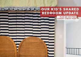 A Very Exciting La Update Our Kids Shared Bedroom Vintage Pattern Tassels And A Red Zebra Rug Emily Henderson
