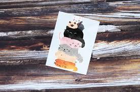 Kawaii Cat Decal Cat Vinyl Sticker Cat Watercolor Decal Etsy
