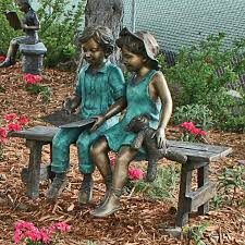 bench cast garden statue