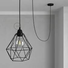swag lamp pendant light with black