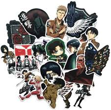 Amazon Com Anime Themed Attack On Titan 21 Piece Sticker Decal Set For Kids Adults Laptop Motorcycle Skateboard Decals Computers Accessories