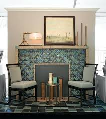 green tile fireplace surround