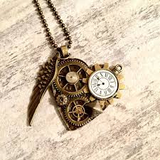 steampunk jewelry angel wing necklace