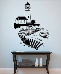 Lighthouse Wall Art Silhouette Seascape Decal Home Nautical Etsy Vinyl Wall Decals Nautical Decals Vinyl Wall