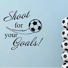 Shoot For Your Goals Quote Wall Decal Removable Vinyl Sport Decal Soccer Ball Wall Decals Football Goal Boys Room Decor Ay403 Wall Stickers Aliexpress