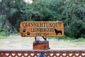 leonberger warning sign garden gate