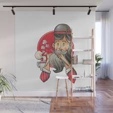 Knitting Bearded Gentleman Wall Mural By Ademainbenjamin Society6