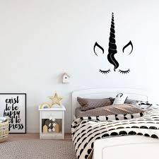 Unicorn Wall Decor Eyelashes Vinyl Decal Personalized For Girl S Bedroom Playroom Or Bathroom Kids Home Decorations Handmade Midwestgolfingmagazine Com