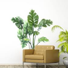 green leaves plant wall decals leaf