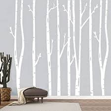 Amazon Com White Family Birch Wall Decal Mural Forest Tree Wall Decals Nursery Forest Wall Stickers Vinyl Wall Sticker Woodland Scene 7 8ft 93 6 Inch Birch Tree Wall Art Set Of 8 Baby