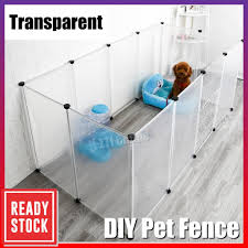 Multi Functional Transparent Pet Fence Dog Cat Rabbit Cage House Kennel Diy Pet Cage Sangkar Kucing Anjing Clear Large10 Pcs New Pgmall