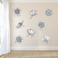 Black And White Peonies Printed Wall Decals Sweetums Signatures