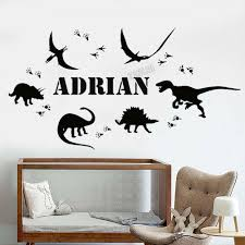 Dinosaur Footprint Vinyl Wall Sticker Personalized Name Home Decor Boys Room Custom Wall Decal For Nursery Room Removable Y012 Wall Stickers Aliexpress